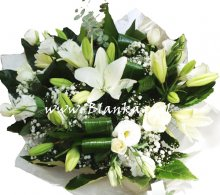 Blanka 55 White Bouquet Lilies and Lisianthus eustome