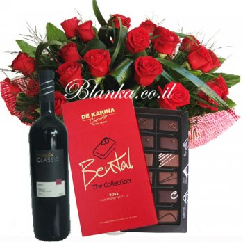 Blanka set 135 Red roses chocolate and vine