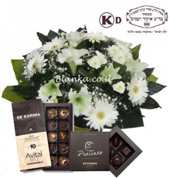Blanka set -25 White flowers bouquet and chocolate