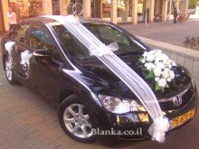 wedding car rings and flowers