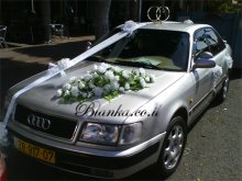 wedding car with flowers